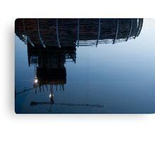 Upside down construction Crane Canvas Print