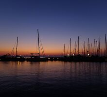 Boats at Sunset, Naxos Port by Themis