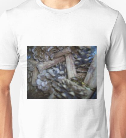Fir cones and Cinamon sticks make a warm greeting for those colder days Unisex T-Shirt