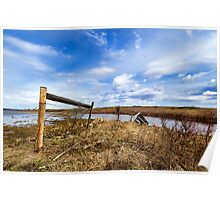 Fence On Flooded Land Poster