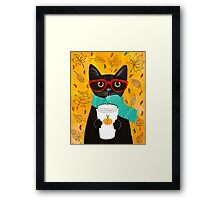 Pumpkin Coffee Cat Framed Print