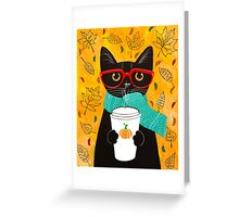Pumpkin Coffee Cat Greeting Card