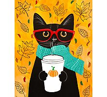 Pumpkin Coffee Cat Photographic Print