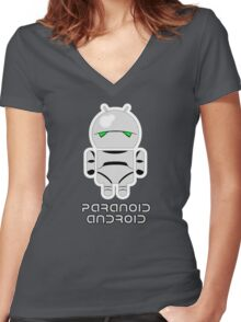 PARANOID ANDROID Women's Fitted V-Neck T-Shirt