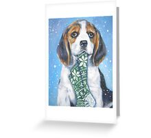 Beagle Christmas Fine Art Painting Greeting Card