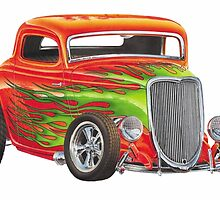 Orange Flame Out Mutant Hot Rod by HeatherLaskey