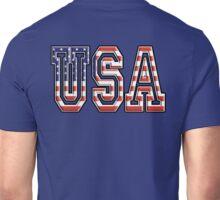 USA, United States of America, Flag, Patriot, America, American, US, on Navy, Blue Unisex T-Shirt