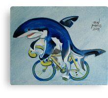 Shark on a Bicycle Canvas Print