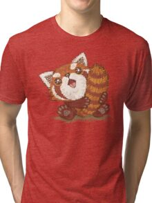 Red panda which holds a tail Tri-blend T-Shirt