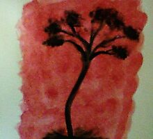 Tree Study of Africa Series, #3, watercolor by Anna  Lewis, blind artist