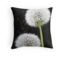 Close Up Image Of Two Fragile Dandelion Globes Throw Pillow