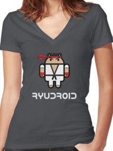 Ryu from Street Fighter goes Google Android Style Women's Fitted V-Neck T-Shirt