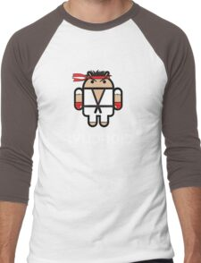 Ryu from Street Fighter goes Google Android Style Men's Baseball ¾ T-Shirt