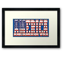 AMERICA, Stars and Stripes, AMERICAN, Patriotic Type, Patriot Type, Navy, Blue Framed Print