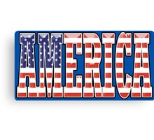 AMERICA, Stars and Stripes, AMERICAN, Patriotic Type, Patriot Type, Navy, Blue Canvas Print