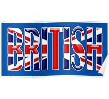 BRITISH, Union Jack, Patriot, Britain, England, Scotland, Ireland, Wales. UK, Navy, Blue Poster