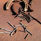 Old Rusty Horseshoes with nails by Jean Gregory  Evans