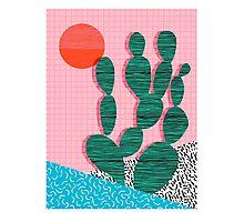 'Sup - cactus throwback retro memphis style neon art print 80s 1980s pop art desert socal  Photographic Print