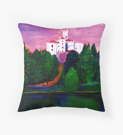Castle on the lake Throw Pillow