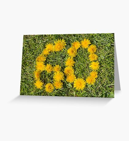 number sixty designed with dandelion on the lawn Greeting Card