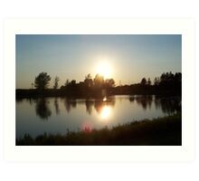 The Sunset Reflection on the Lake Art Print