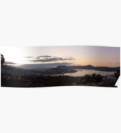 Dusk at Hobart     -  panorama Poster