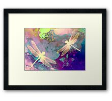 Painting Orchids & Dragonflies. Framed Print