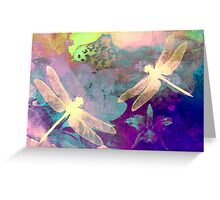 Painting Orchids & Dragonflies. Greeting Card