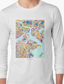 Boston Massachusetts Street Map Long Sleeve T-Shirt