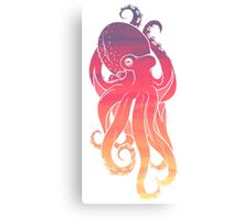 Sunset Sky Octopus (Transparent Lines) Canvas Print