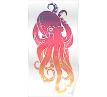 Sunset Sky Octopus (Transparent Lines) Poster