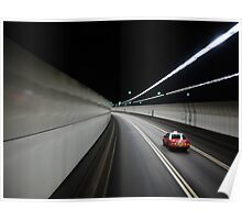 Hong Kong tunnel with taxi Poster