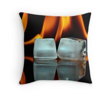 Ice cubes on fire Throw Pillow