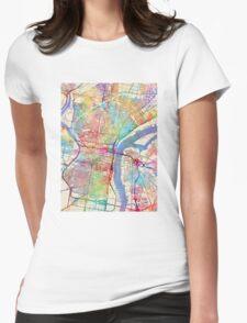 Philadelphia Pennsylvania City Street Map Womens Fitted T-Shirt