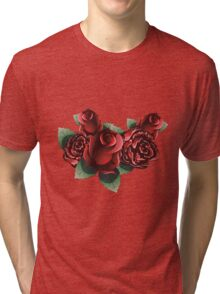 Red Roses with Leaves Tri-blend T-Shirt