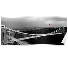 Red Balloon Over Clifton Suspension Bridge Poster