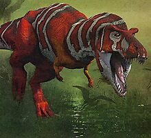 T Rex in Swamp by artstoreroom