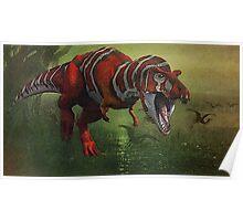 T Rex in Swamp Poster