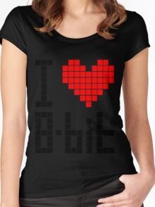 I Love 8-bit <3 Women's Fitted Scoop T-Shirt
