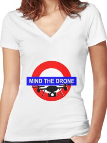 Mind the Drone Women's Fitted V-Neck T-Shirt