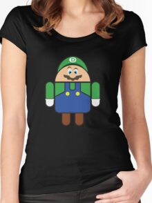 Super Droid Bros. Luigi Women's Fitted Scoop T-Shirt