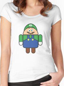 Super Droid Bros. Luigi Women's Fitted Scoop T-Shirt