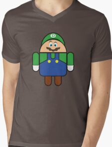 Super Droid Bros. Luigi Mens V-Neck T-Shirt