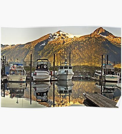 Small Boat Harbour at Skagway Poster