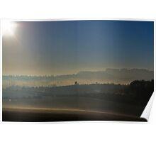 Mist on the hills, over Nottinghamshire. U.K. Poster