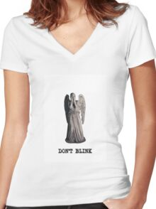 weeping angel - don't blink Women's Fitted V-Neck T-Shirt