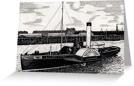 184 - TUGBOAT 'LIVINGSTONE' c. 1910 - DAVE EDWARDS - INK - 1991 by BLYTHART
