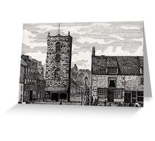 185 - MORPETH MARKET PLACE IN THE 19th CENTURY - DAVE EDWARDS - INK - 1991 Greeting Card