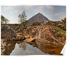 Volcanic Rockpool and Buachaille Etive Mor Poster