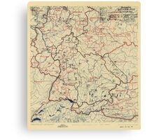 World War II Twelfth Army Group Situation Map June 16 1945 Canvas Print